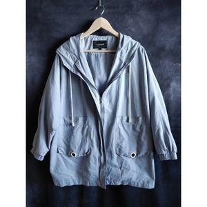 La Chapelle Blue Oversize California Hooded Jacket